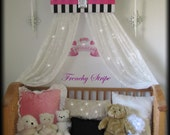 French Paris Stripe Princess Bed Canopy Crown Valance Upholstered SaLe HOT Pink Black White