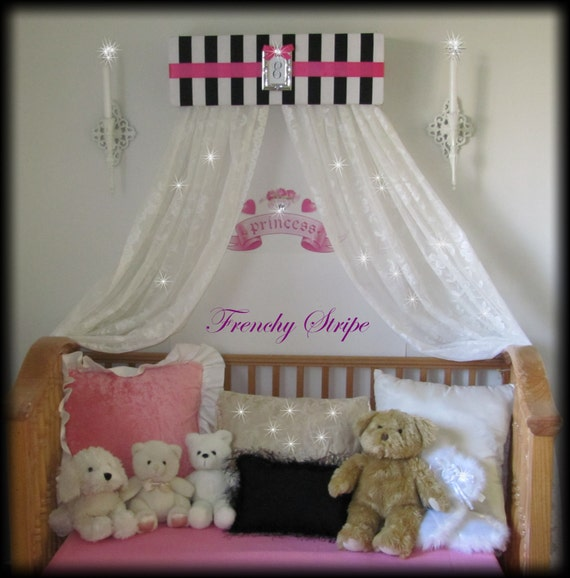 Like this item? & French Paris Stripe Princess Bed Canopy Crown Valance