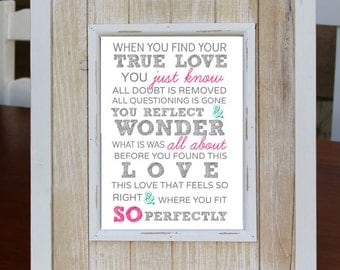TRUE LOVE Digital Download Art Print, Love Quote, Instant Download, Home Decor, Baby Shower, Nursery Decor, Wedding Gift, Christmas Gift