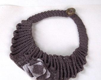 Textile crochet bib necklace linen jewelry pale brown collar handmade Birthday gift her Summer fashion