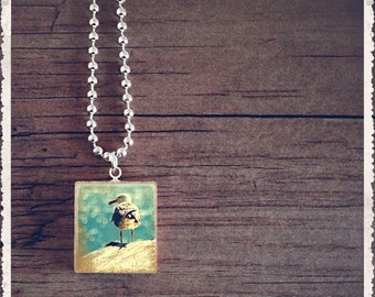 Scrabble Tile Necklace - Life Is Beautiful - Seagull - Scrabble Pendant Charm Jewelry - Customize