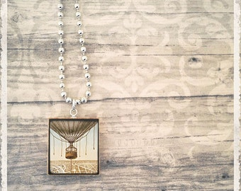 Scrabble Art Pendant - Ballooning Over Paris  - Scrabble Game Tile Jewelry - Customize