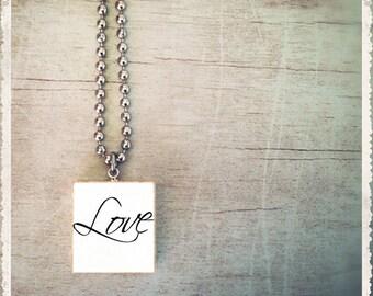 Scrabble Pendant Necklace - Love Inspirational Script - Scrabble Tile Art Charm - Customize