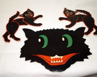 Lot of Vintage Halloween Black Cat Face by Luhn and a pair of Jointed Black Cat diecut paper decorations - Antique