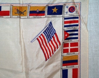 Vintage Silk Scarf Flags of the World Antique 1930s