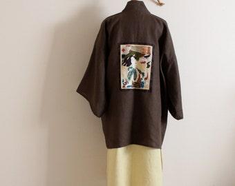 made to order  geisha winter weight  linen haori inspired jacket by annyschoo