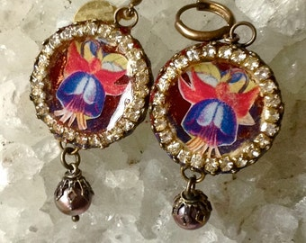 Lilygrace Fuschia Cameo Earrings with Vintage Rhinestones and Freshwater Pearls