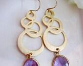 Lavender Earrings, Gold Circles, Gold Bubble Modern Pendant, Long earrings, Bridesmaid Jewelry