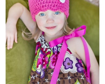 9 Sizes Hot Pink Hat Baby Hat Baby Girl Hat Toddler Hat Toddler Girl Hat Womens Hat 30 Crochet Flower Colors Spring Hat Winter Beanie