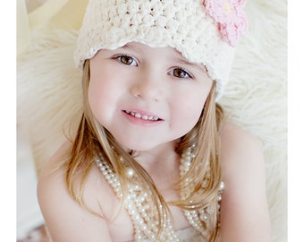 9 Sizes Cream Girls Hat Baby Hat Baby Girl Hat Toddler Hat Toddler Girl Hat Womens Hat Crochet Flower 30 Flower Colors Spring Hat Fall