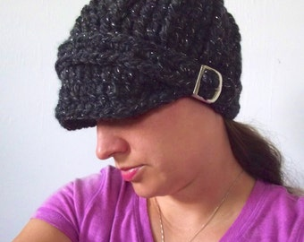 Womens Hat Charcoal Sparkle Charcoal Womens Hat Charcoal Gray Womens Hat Womens Beanie Womens Cap Chunky Crochet Winter Hat Silver Buckle