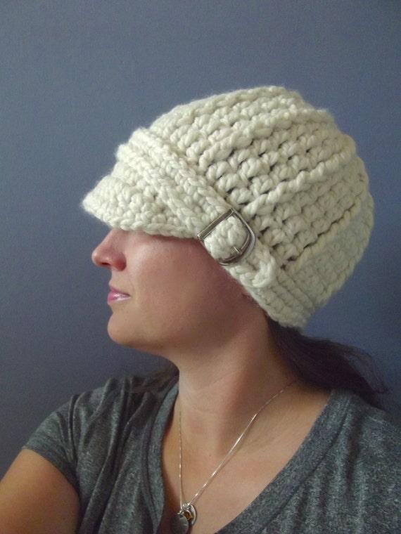 Cream Womens Hat Womens Beanie Womens Cap Cream Hat Cream Beanie Cream Cap Chunky Crochet Hat Knit like Buckle Beanie Winter Accessory Warm