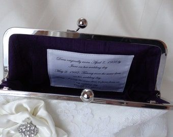 Custom Personalized Label for Bridesmaid and Bridal Clutch