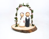 Cake Topper // Wedding Cake Topper // Peg Dolls // Wooden Cake Topper // Custom Cake Toppers and Flower Arch // Wooden Dolls