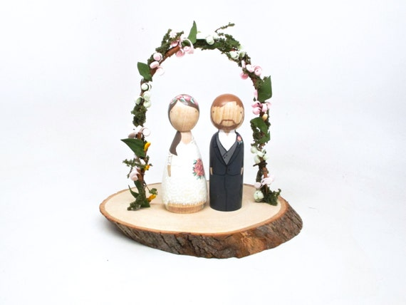 wedding cake toppers etsy cake topper wedding cake topper peg dolls wooden cake 8824
