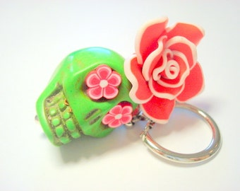 Gigantic Green and Red Sugar Skull and Rose Day of the Dead Keychain