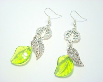 Green and Silver Tree and Leaves Earrings
