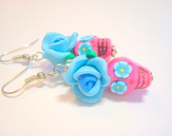 Sugar Skull Earrings Bright Turquoise and Pink Day of the Dead Roses and Sugar Skulls
