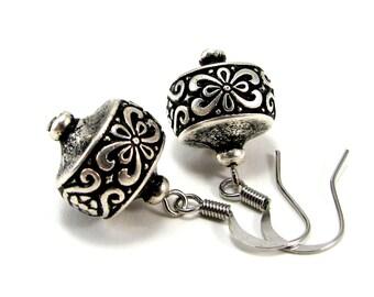 Bohemian dangle earring, antique silver