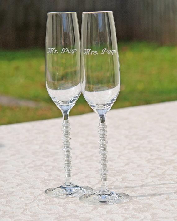 Elegant Crystal Champagne Flute Swarovski Wedding By