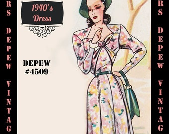 Vintage Sewing Pattern 1940's Dress in Any Size # 4509 Draft at Home Pattern - PLUS Size Included -INSTANT DOWNLOAD-