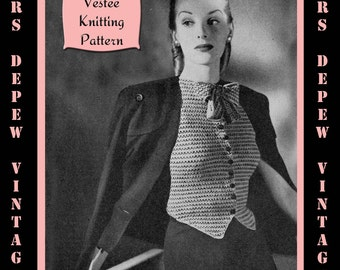 Vintage 1940's Ladies' Blouse Vestee Knitting Pattern Reproduction #4456 - INSTANT DOWNLOAD