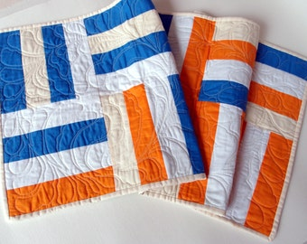 Modern Table Runner Stripes and Feathers, Patchwork Table Centerpiece, Wallhanging Blue and Orange, Quilted Tableware | Made to Order