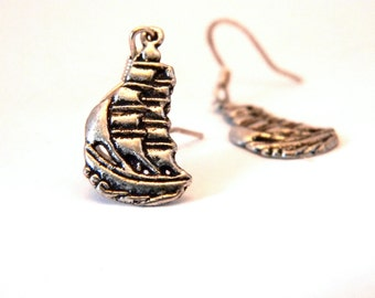 Silver Ship Earrings Dangle Earrings Boat Earrings Silver Color