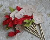 WEDDING CUPCAKE TOPPER - Monogram - wedding, Anniversary, Birthday - Shabby, Vintage, Carnival, Picnic, Woodland, Rustic