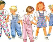 Childs Overalls Pattern Butterick 5396 Romper Playsuit Boy Girl Coveralls Pullover Top 1990s Vintage Sewing Pattern Chest 23 - 24 - 25 Uncut