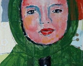 Acrylic Girl Portrait Painting. Mixed Media Collage Art. Green Winter Coat. Gift for Friend.