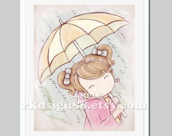 Rainy Day, bathroom decor, nursery art, baby girls room, kids art, umbrella, girls wall art, bathroom art, blonde hair, Rainy Day