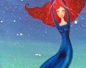 Painting Original Take me to the stars. 12 x 24 acrylic mixed media oddimaginationj