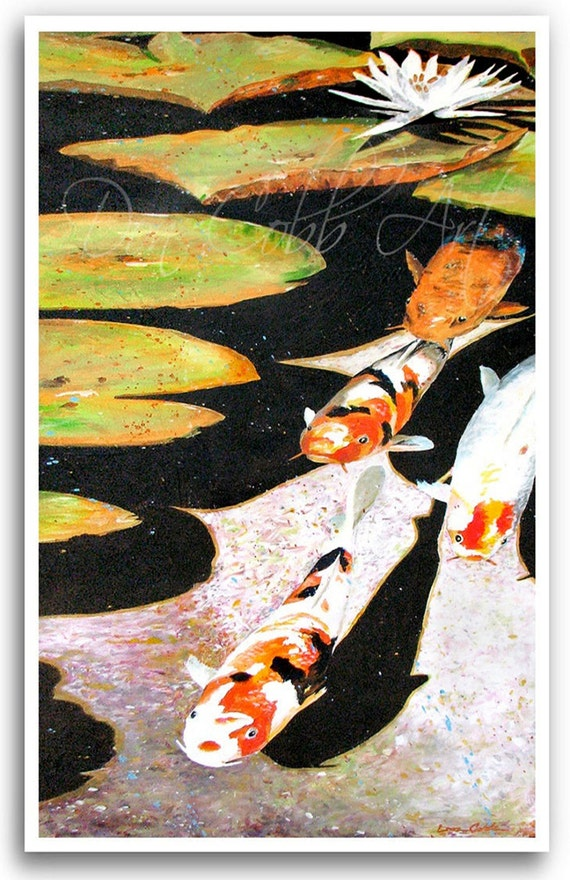 Koi Fish Art 13x19 Print Koi Fish Circle On
