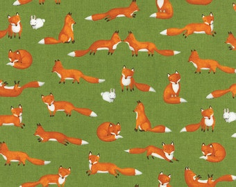 Fox Grass Forest Friends Green Moda Fabric 42 inches LAST IN STOCK