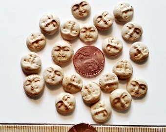 10 gold harvest moon ceramic face cabochons HM stoneware clay rustic flat beads