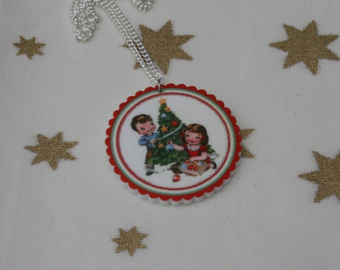 Christmas Tree Necklace, Vintage Christmas Illustration Necklace