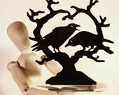 Raven Heart Crow Cake Topper, 'Nevermore' Wedding Keepsake Topper, Dark Night Blackbirds Gothic Couple *Original Design*