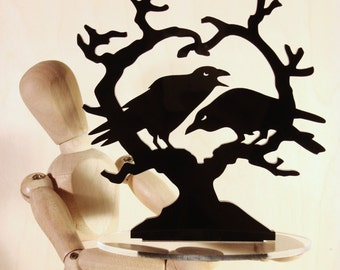 Raven Heart Crow Cake Topper, 'Nevermore' Wedding Keepsake Topper, Dark Night Blackbirds Gothic Couple *Original Design*