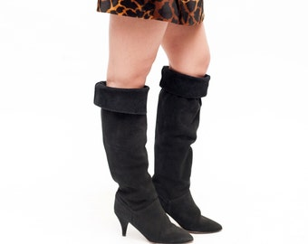 Knee High Boots // Black Suede Boots - Size 7