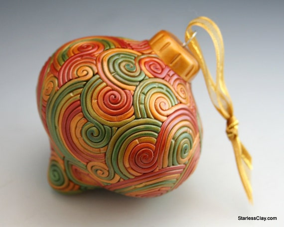 SALE Christmas Ornament in Autumn Gold, Green, Red Fimo Filigree