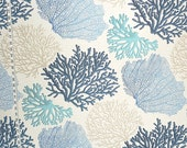 Blue coral fabric ocean fabric aqua coral fabric coastal living beach fabric beach cottage fabric home decorating FREE SHIPPING 1 yard
