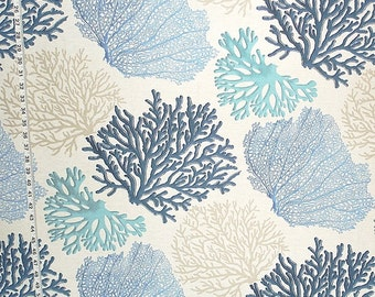 Blue coral fabric aqua ocean home decorating material 1 yard