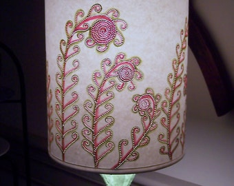 Crazy for Fiddlehead Ferns Tall Drum Lamp Shade on Brilliant White Paper - Trim White & Apple Green (No Lamp Can Ask)