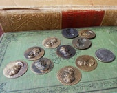 5 vintage round flat brass lady head cameo stampings charms molds cabochons - jewelry making supplies