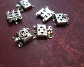 6pc vintage three strand filigree pinch clasp - vintage old new stock jewelry supplies