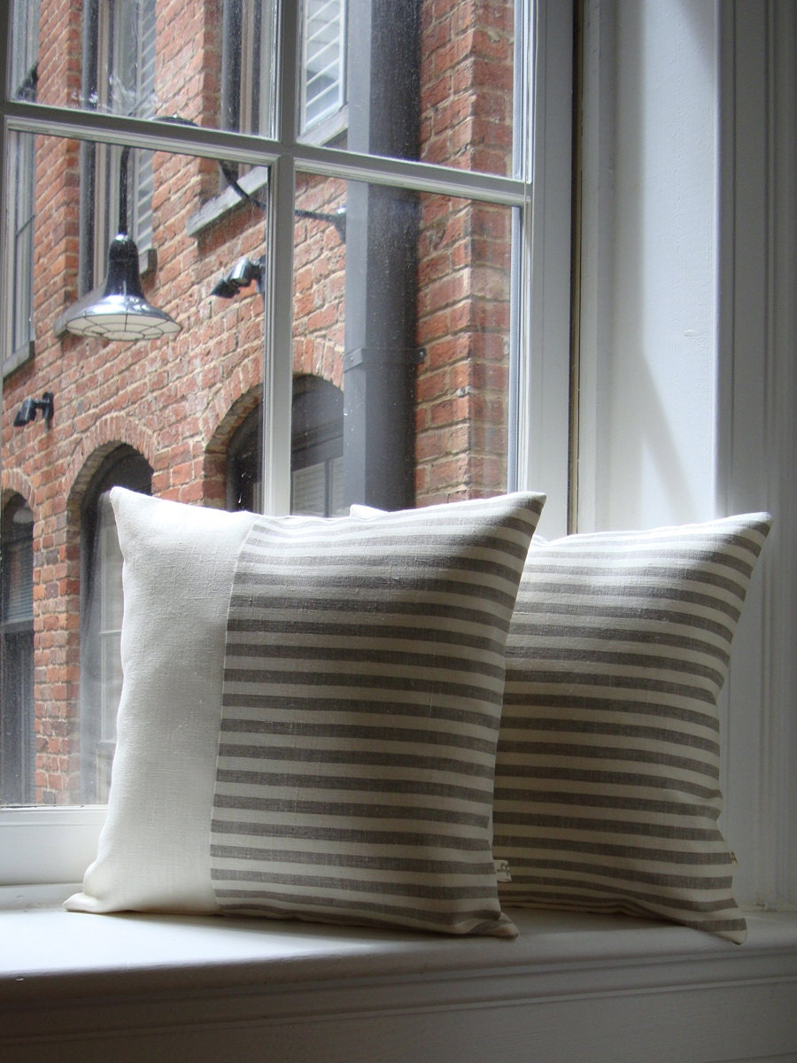 Minimal striped linen pillow cover set of 2 urban home decor Urban home decor