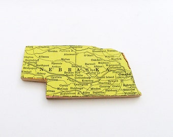 Nebraska Brooch - Lapel Pin / Upcycled 1940s Straus Wood Puzzle Piece / Unique Wearable History Gift Idea / Timeless Gift Under 25