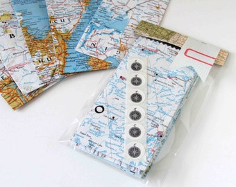 Assorted Recycled Map Treat bags and stickers set of 6