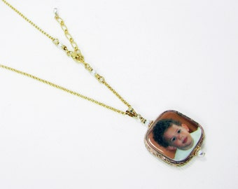 Gold-filled Floral Framed Photo Tile Pendant, Rolo Chain Necklace - Small - FP3FGfRN